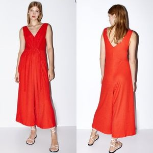 NWT Zara coral ruched jumpsuit SZ Small